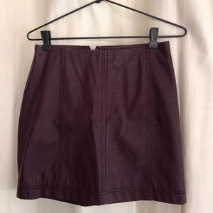 Free people faux leather maroon skirt